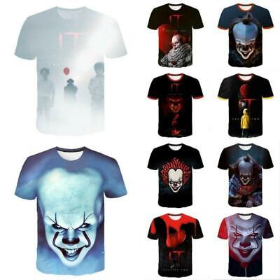 Unisex Stephen King Costume T-shirt Pennywise Cosplay Tee Shirt 3D Clothes S-5XL