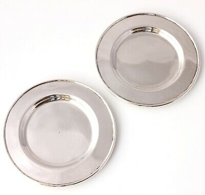 Antique Pair Chinese Hallmarked 935 Silver Small Pin Dishes Plates Coaster c1900