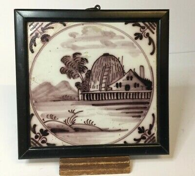 CHARMING MANGANESE ANTIQUE DELFT TILE County Scene , Haystack, 18th Century