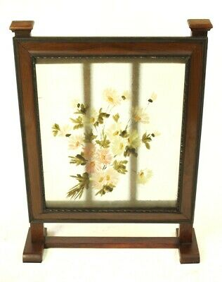 Vintage Mahogany and Hand Painted Glass Fire Screen [5500]