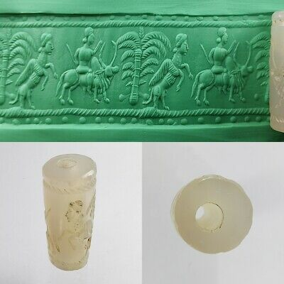 Sassanian White Old Agate Seal Cylinder all Round Intaglio #A185