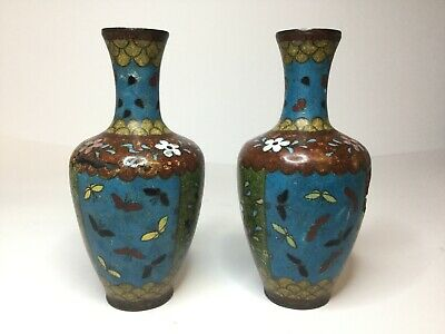 """Pair Antique Chinese Cloisonne Vases, 19th Century 5"""" High, Qing"""