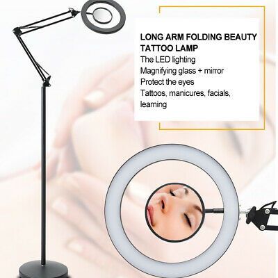 Salon Folable 8x Magnifing LED Cold Light Floor Lamp for Makeup Tattoo Nail Art