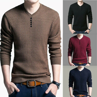 Men Casual V-Neck Pullover Slim Fit Shirt Sweaters Knitted Top Sweatshirt Solid