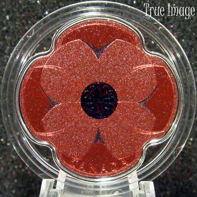 2019 - Remembrance Day - $10 Pure Silver Coloured Poppy-Shaped Coin - Canada