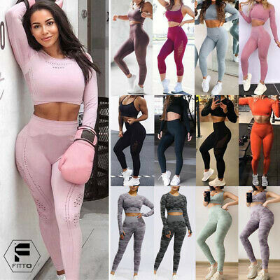 Womens Seamless Crop Top+Leggings Bra Pants Sports Gym Set Outfit 2pcs Yoga Suit
