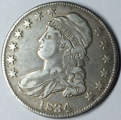 1834 50C Capped Bust Half Dollar XF Details Uncertified #