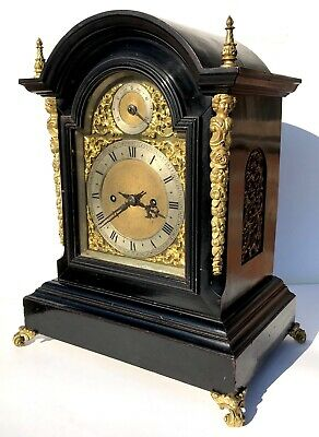 Antique Winterhalder & Hofmeier Ebonised Double / Twin Fusee Bracket Clock