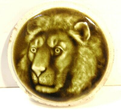 Antique Victorian Embossed Majolica Glazed Round Pattern Tile Lion Head Leo
