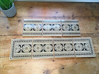 Reclaimed Mintons Fireplace Border Tiles Black & White Aesthetic Movement Greek
