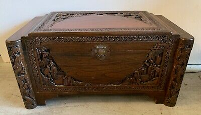Vintage Hand Carved Chinese Camphor Wood Guangdong Trunk Hope Chest