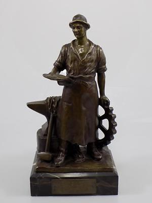 Art Nouveau Bronze Blacksmith with Anvil Sign.g.deihle Sculpture on base 20.JHD