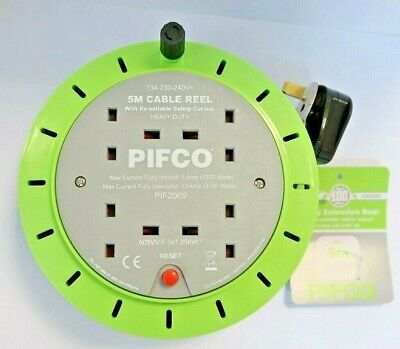 PIFCO 4 Way 5M 13 AMP Electric Extension Cable Reel Mains Plug socket lead