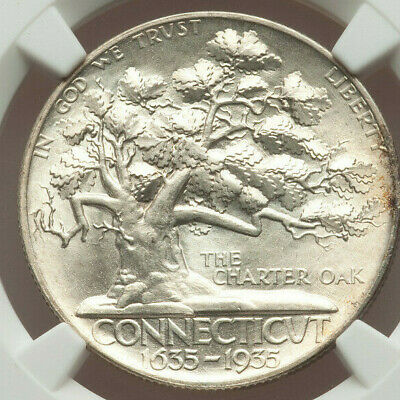 1935 Connecticut Commemorative Silver Half Dollar - NGC MS 64 - Mint State 64