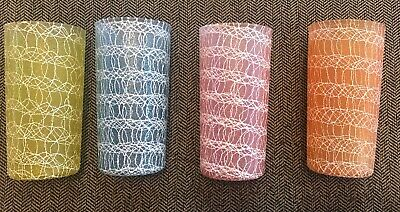 Gorgeous Mid -Century Modern Pastel Spagetti String Tumbler Glasses, Set of 4
