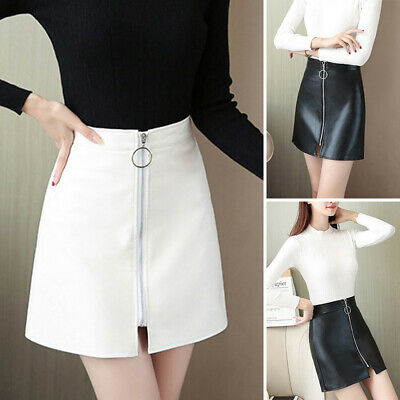 Women Skirt Ladies Evening Faux Leather Fashion Party Skirt Wet Look Retro