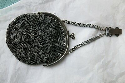 Antique Early 19th century Chatelaine mesh purse Chain mail steel