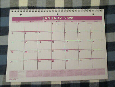 2020 SPIRAL 3-Hole HANGING MONTHLY WALL 11X8 Calendar 01/2020 to 01/2021 Purple