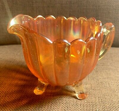 Very Early Imperial Glass Iridescent Marigold Lustreware 3 Footed Jug / Creamer