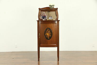 Mahogany Antique Music File Cabinet, Musical Marquetry Panel #32005