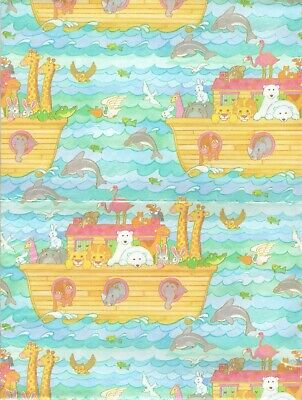 Vintage Noah's Ark Gift Wrap Wrapping Paper Baby Shower Birthday Boy or Girl