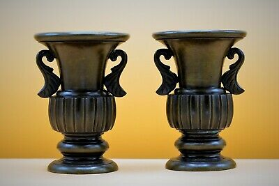 19th Century - Good PAIR of Antique BRONZE Decorative VASE Urns with LEAF Handle