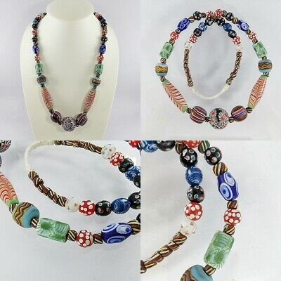 Antique Mixed African Glass Trade Multi-Color Beads Lovely Necklace #187