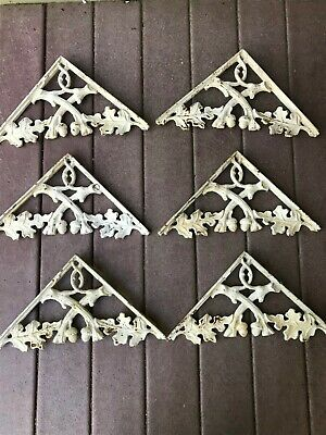 ANTIQUE CORBELS / SHELF BRACKETS HEAVY CAST IRON Acorns 1950's 60's Lot Of 6