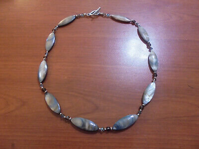 """Sterling silver blue grey crystal mother of pearl shell beaded necklace 18"""" long"""