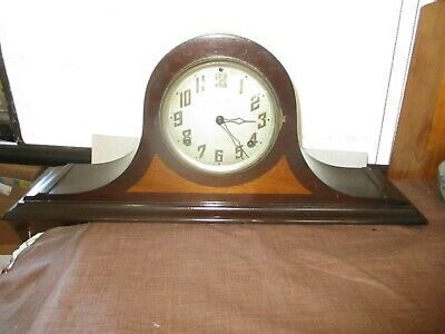 ANTIQUE MANTEL CLOCK USA Art Deco INGRAHAM DUPLEX HERA 2-TONE OAK,8-DAY w CHIMES