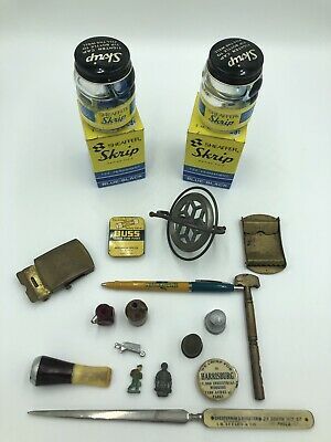 Antique Junk Drawer Lot Miniatures, Sheaffer Skrip, Solid Brass, Thimbles, Pin
