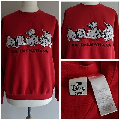 Vintage Disney Store Red Sweatshirt Size 8/10/12 101 Dalmatians Embroidered
