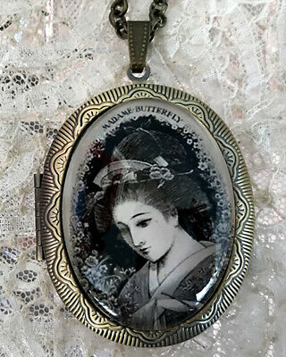 MADAME BUTTERFLY ENGRAVING ~ Vintage Picture Locket Necklace OPERA Japan MUSIC
