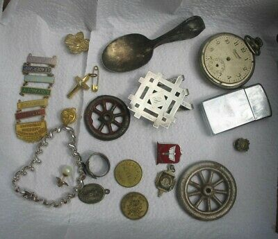 Vintage Junk Drawer Jewelry Lot Sterling Gold Filled zippo money clip iron wheel