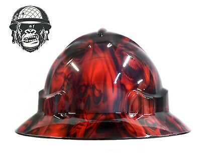 Custom Hydrographic Wide Brim Safety Hard Hat GHOST RED