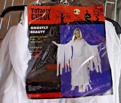 Costume Totally Ghoul Ghostly Beauty Silver Chain Adult Size 8-14 NWT