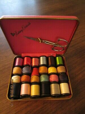 Vintage Belding Corticelli Travel Sewing Kit Scissors Thimble Thread Needle PINK