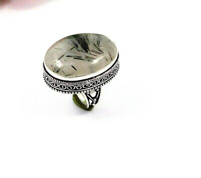 Lovely Black Needle Rutile Silver Carving Jewelry Ring Size 9 JT2354