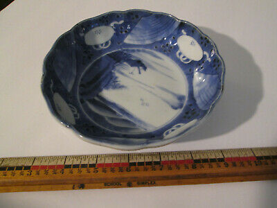 "6"" Bowl Porcelain Antique Japanese Imari Blue & White Chinese Export Canton"