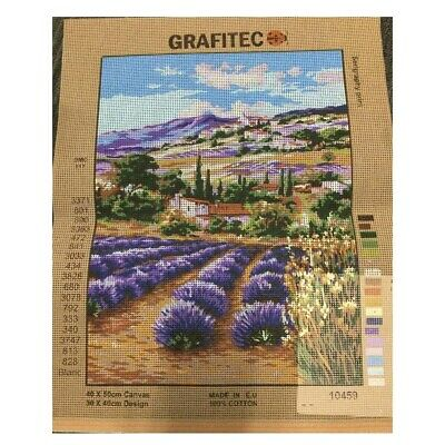 Grafitec Printed Tapestry Needlepoint LAVENDER FARM Ready to Stitch New