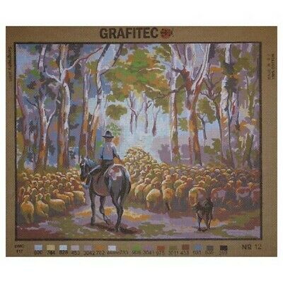 Grafitec Printed Tapestry Needlepoint SHEEP DROVING with DMC Numbers New