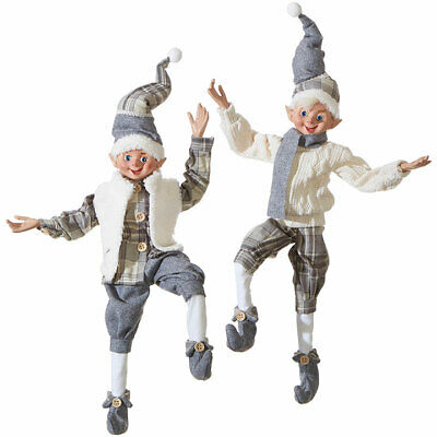 Raz Imports Collectible Elves The Gray Cozy Knit Preppy Elves Set Of 2 16 In