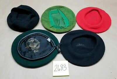 Lot of Vintage Beret Hats Ree Black Wool Czech Green Suede New York Creations