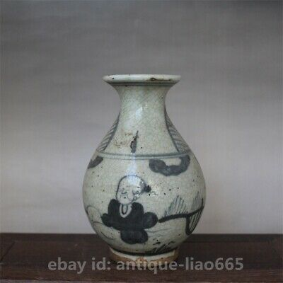 "5.7"" Old Chinese Ceramics Blue White Porcelain Ancient Figure Bottle Vase Flask"
