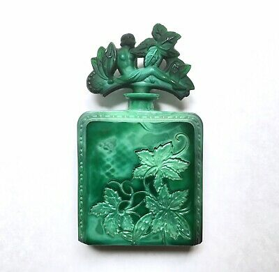Antique Art Deco Ingrid Malachite Glass Perfume Bottle Hoffmann Schlevogt 1930s