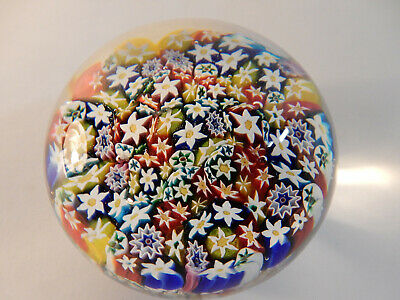 Vintage Murano Vetreria La Fenice Millefiori Paperweight Flowers Awesome Colors