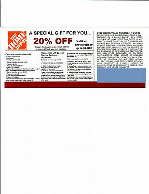 (1) 20% OFF HOME DEPOT Competitors Coupon to use at Lowe's expires 12/31/19