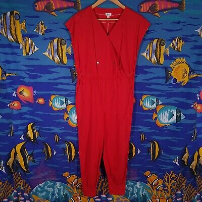 Vintage 80s Jumpsuit Size Small 10 12 Playsuit One Piece Festival Costume Red