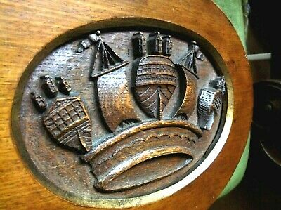 V. Rare Antique 19Th C Large Treen Wooden Deep Carved Oak Ships Armorial Plaque