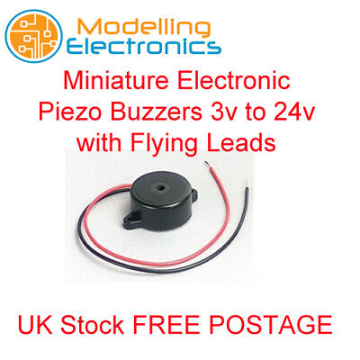 Miniature Electronic Piezo Buzzers 3v to 24v  with Flying Leads
